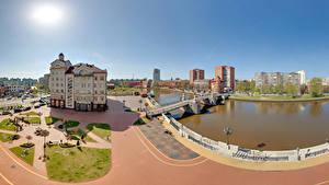 Фотографии Россия Дома Речка Мост Небо Калининград Улица город