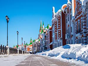 Картинки Россия Дома Зимние Улица Снеге Уличные фонари Дизайна Yoshkar-Ola Города