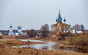 Обои для рабочего стола Россия Весна Храмы Церковь Монастырь Речка Kirill Sokolov, Dunilovo Природа