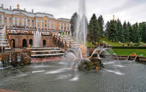 Обои Россия Санкт-Петербург Здания Фонтаны Парки Скульптуры Дворца Peterhof Города