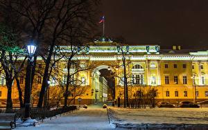 Фото Россия Санкт-Петербург Парки Дома Зимние Снегу Уличные фонари Senate Square Города