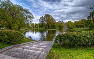 Обои для рабочего стола Россия Санкт-Петербург Парк Пруд Лестница Кусты Дерева HDR Yusupovsky Garden Природа
