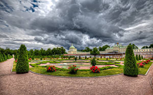 Обои Россия Санкт-Петербург Парки Роза Дворец Дизайн Газон Кусты HDRI Oranienbaum Palace Lomonosov