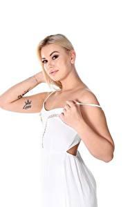 Фотографии Sandra Blonde Frost Белом фоне Блондинка Взгляд Руки Тату Платья молодая женщина