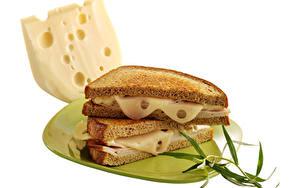 Фотографии Сэндвич Хлеб Сыры Белый фон Тарелка Еда