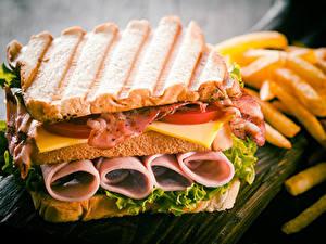 Фотографии Сэндвич Хлеб Мясные продукты Овощи Бекон Продукты питания