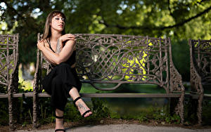 Фотографии Скамья Сидящие Позирует Рука Взгляд Sarah молодая женщина