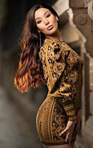Фото Шатенка Платья Взгляд Боке Sarah молодые женщины