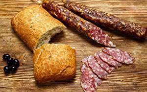 Картинка Колбаса Хлеб Нарезка Продукты питания