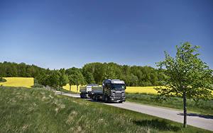 Картинка Сканиа Грузовики Дороги Трава 2017 G 500 6×2 rear-steer tipper with trailer авто Природа