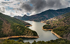 Фотография Пейзаж Франция Горы Река Облака Corsica Природа