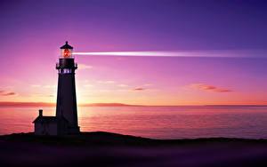 Фотография Пейзаж Маяки Море Ночные Силуэты Природа