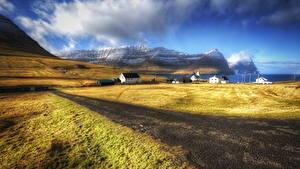 Фото Пейзаж Горы Дороги Faroe Islands village Природа