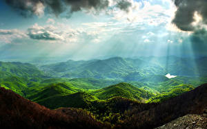 Фото Пейзаж Горы Небо Мох Облака Лучи света