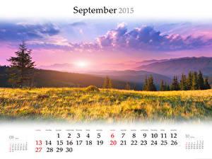 Фотографии Пейзаж Рассветы и закаты Гора Поля Календаря Облачно 2015 september Природа