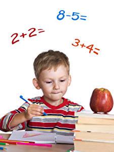 Картинка Школьные Яблоки Мальчики Шариковая ручка Ребёнок