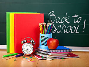 Обои Школа Часы Яблоки Будильник Английская Книга Карандаш Тетрадь