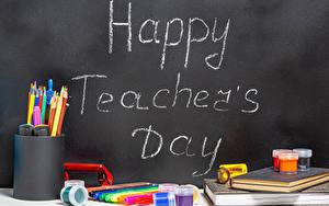 Обои для рабочего стола Школа Праздники Канцелярские товары Английский Карандаша Happy Teacher's Day