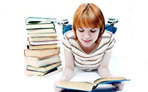 Фотография Школьные Белом фоне Девочка Книги Школьница ребёнок
