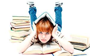 Обои Школа Белый фон Девочки Книга Руки Взгляд Дети