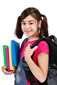 Фотография Школьные Белом фоне Девочки Смотрит Книга Дети