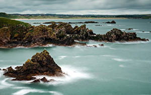 Картинки Шотландия Побережье Скале Залива Cruden Bay Aberdeenshire