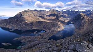Фотографии Шотландия Горы Озеро Облака Cuillin Mountains Природа