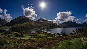 Обои Шотландия Горы Озеро Дороги Вечер Пейзаж Облако Солнце Carn Gorm Природа