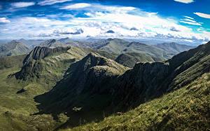 Обои для рабочего стола Шотландия Горы Небо Облака Сверху Knoydart Природа