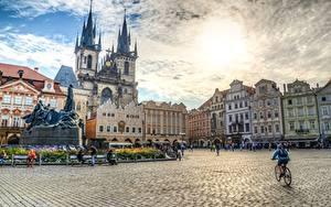 Картинки Скульптуры Памятники Чехия Прага HDRI Городская площадь Old town square