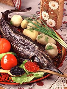 Картинка Морепродукты Рыба Икра Картофель