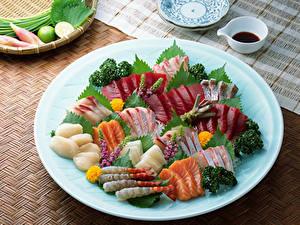 Обои Морепродукты Рыба Овощи Тарелка Пища