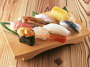 Картинки Морепродукты Суши Сыры Доски Пища