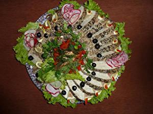 Картинка Морепродукты Овощи Оливки Нарезка Дизайн Пища