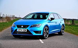 Картинки Seat Голубой 2015 Leon ST Cupra 280 UK-spec