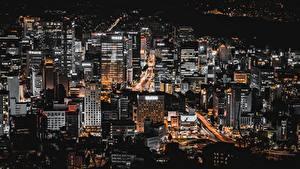 Фото Сеул Здания Южная Корея Мегаполиса Ночью