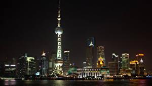 Фото Шанхай Китай Небоскребы Дома Башни Ночь