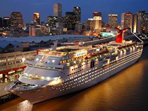 Обои Корабль Круизный лайнер Причалы Ночные Carnival Fantasy