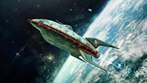 Обои Корабли Поверхность планеты Футурама Взлетают Космос
