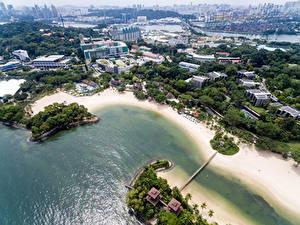 Картинка Сингапур Здания Побережье Сверху Palawan Beach город