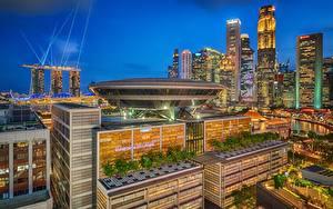 Картинки Сингапур Дома Ночью