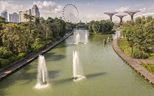 Картинка Сингапур Парки Водный канал Колесо обозрения
