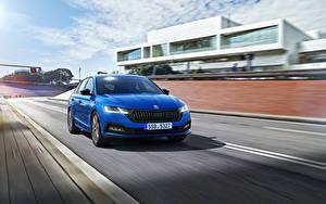 Обои Skoda Едет Синие Металлик Octavia Combi Sportline, Worldwide, 2021 Автомобили