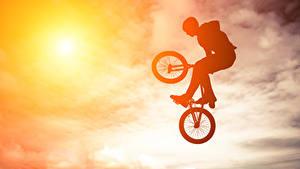 Фотография Небо Велосипед Прыгать Силуэт Спорт