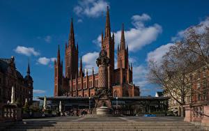 Картинки Небо Церковь Германия Облако Marktkirche, Wiesbaden город