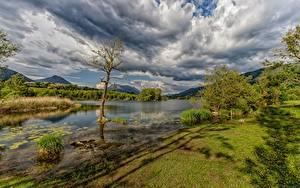 Фотография Небо Франция Горы Реки Облачно Sainte-Hélène-du-Lac, Savoie Природа