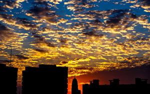 Картинки Небо Здания Облако Ночь Силуэт Природа