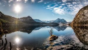 Фото Небо Озеро Гора Австрия Пейзаж Отражении Солнца Styrian Lake, Altaussee