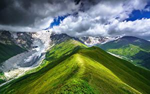 Фото Небо Гора Грузия Облачно Снега Chkhutnieri Pass, Upper Svaneti Природа