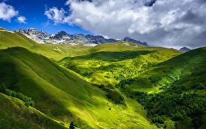 Фотографии Небо Гора Грузия Облачно Холмы Near Tetnuldi, Upper Svaneti Природа